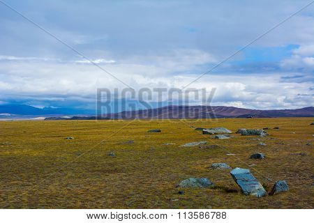 Steppe Landscape With Large Stone