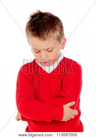 Little angry kid with red jersey isolated on a white background