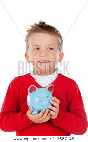 Nice kid with blue moneybox isolated on a white background