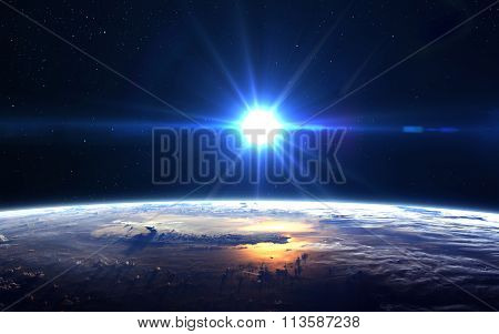 High Resolution Planet Earth view. The World Globe from Space in a star field showing the terrain an