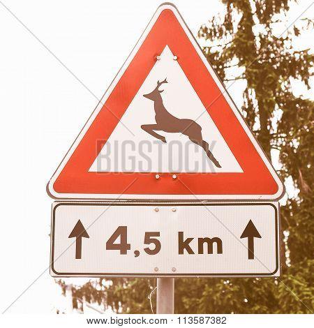 Wildlife Danger Sign Vintage