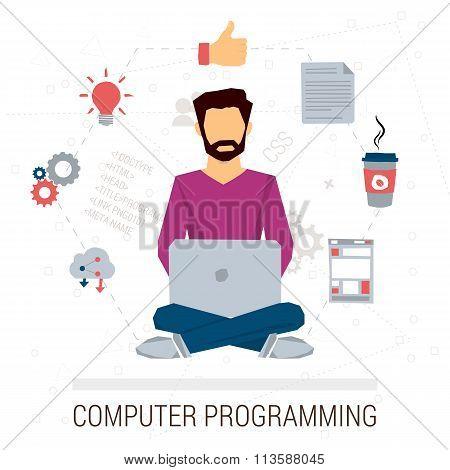 Vector illustration of working programmer