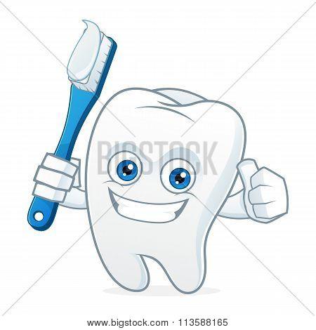 Tooth Cartoon Mascot Brushing Teeth