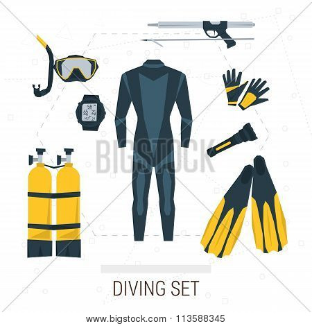 Vector icons set of diving items