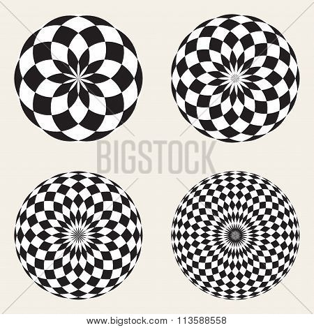 Set Of Four Vector Black White Spirograph Circle Geometric Design Elements