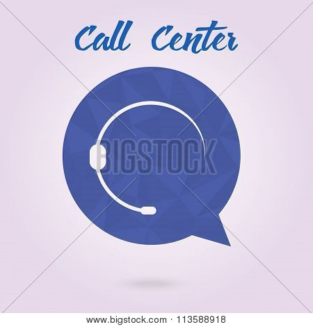Polygonal Icon For Call Center Or Hotline, Support Symbol In Vector