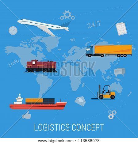 Concept of logistics transportation on world map
