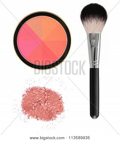 8 Color Face Blush With Brush Isolated On White Background