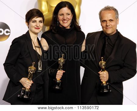 Mathilde Bonnefoy, Laura Poitras and Dirk Wilutzky at the 87th Annual Academy Awards - Press Room held at the Loews Hollywood Hotel in Los Angeles, USA February 22, 2015.