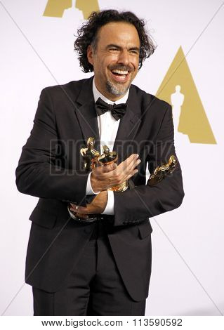 Alejandro Gonzalez Inarritu at the 87th Annual Academy Awards - Press Room held at the Loews Hollywood Hotel in Los Angeles, USA February 22, 2015.