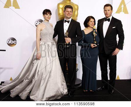 Felicity Jones, Adam Stockhausen, Anna Pinnock and Chris Pratt at the 87th Annual Academy Awards - Press Room held at the Loews Hollywood Hotel in Los Angeles, USA February 22, 2015.