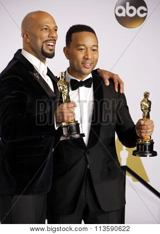 Common and John Legend at the 87th Annual Academy Awards - Press Room held at the Loews Hollywood Hotel in Los Angeles, USA February 22, 2015.