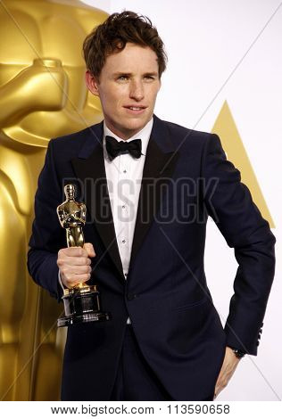 Eddie Redmayne at the 87th Annual Academy Awards - Press Room held at the Loews Hollywood Hotel in Los Angeles, USA February 22, 2015.