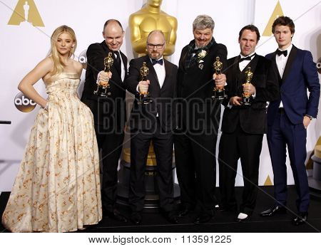 Ansel Elgort, Chloe Grace Moretz, Andrew Lockley, Ian Hunter, Scott R. Fisher and Paul Franklin at the 87th Annual Academy Awards held at the Loews Hotel in Los Angeles, USA on February 22, 2015.