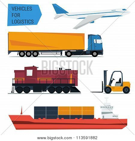 Vector icons set freight transportation logistics