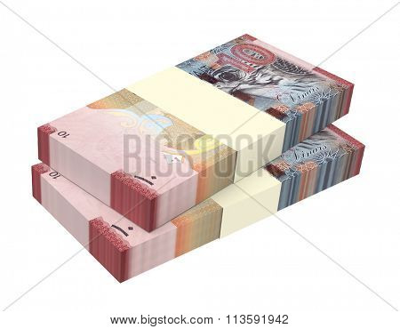 Kuwait dinars bills isolated on white background. Computer generated 3D photo rendering.
