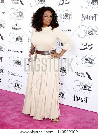 Oprah Winfrey at the 2015 Film Independent Spirit Awards held at the Santa Monica Beach in Los Angeles, USA on February 21, 2015.