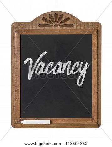 A Chalkboard Sign On A White Background - Vacancy