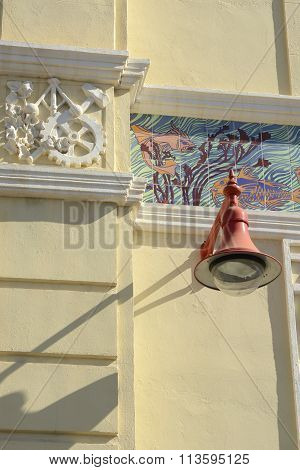 Lamp And Mouldings On Building In Valencia, Spain