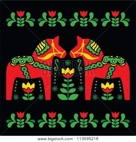 Swedish Dala or Daleclarian horse folk art pattern on black background