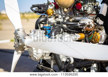 Close up of propeller and engine
