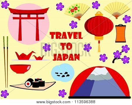 Japan. Travel to Japan. Character set. Flat icons set.