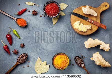 Spices On Stone Grey Background