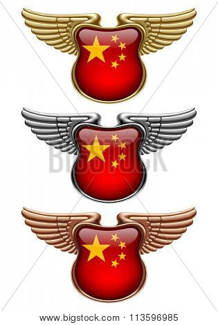 Gold, silver and bronze award signs with wings and China state flag. Vector illustration