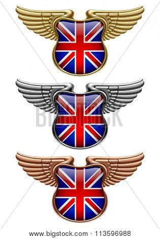 Gold, silver and bronze award signs with wings and Great Britain state flag. Vector illustration