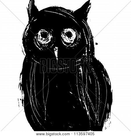 Black Owl On A White Background. Isolated Ink Drawing.