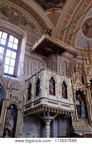 STITAR, CROATIA - AUGUST 27: Pulpit in the church of Saint Matthew in Stitar, Croatia on August 27, 2015
