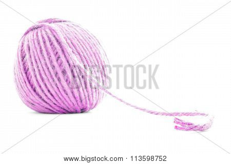 Pink Traditional Skein, Crochet Yarn Roll Isolated On White Background
