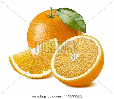 Orange Fruit Juice Composition On White Background