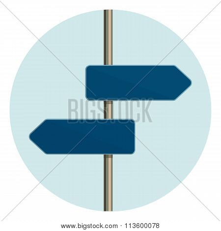 Flat design round icon of directional arrow road sign.