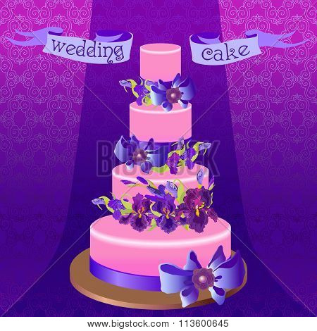 Wedding cake with purple iris flower design. Vector illustration.