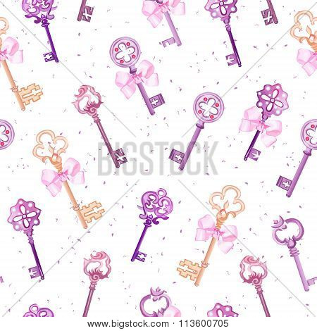 Medieval Keys With Pink Bows Seamless Vector Pattern