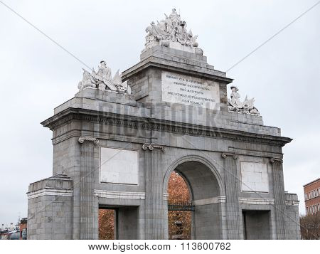 Gate Toledo in Madrid with white sky. Spain