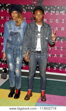 Pharrell Williams and Helen Lasichanh at the 2015 MTV Video Music Awards held at the Microsoft Theatre in Los Angeles, USA on August 30, 2015.