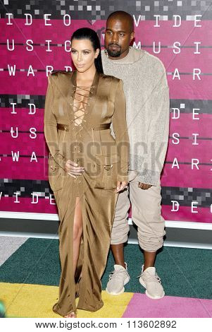 Kim Kardashian and Kanye West at the 2015 MTV Video Music Awards held at the Microsoft Theatre in Los Angeles, USA on August 30, 2015.