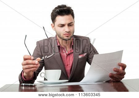 Business Man Reading Documents Without Glasses.