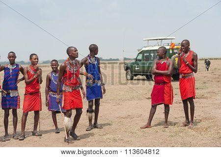 African tribe Masai Mara in red wear in Kenya