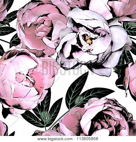 art vintage monochrome watercolor and graphic floral seamless pattern with white and pink roses and peonies isolated on white background