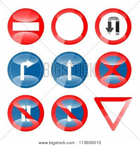 Glossy Vector Road Signs set 01