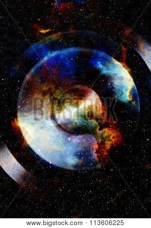 Audio music Speaker with color effect. Cosmic space and stars, cosmic abstract background. space mus