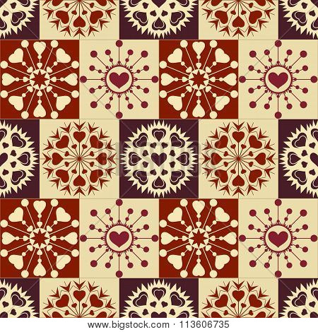 Christmas seamless checked pattern with heart snowflakes. New Year, Valentine texture. Brown, beige,