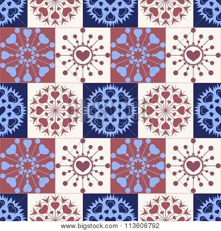 Christmas seamless checked pattern with heart snowflakes. New Year, Valentine day, birthday texture.
