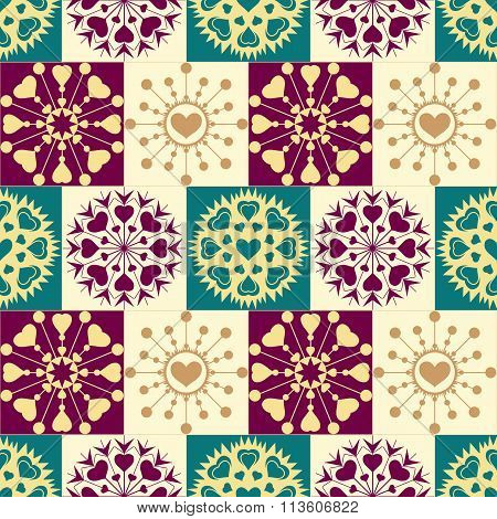Christmas seamless checked pattern with heart snowflakes. New Year, Valentine texture. Brown, green,