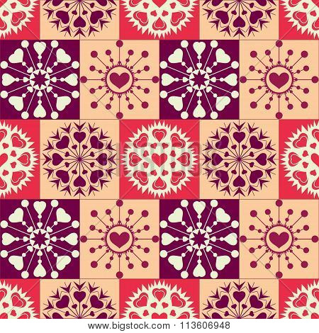Christmas seamless checked pattern with heart snowflakes. New Year, Valentine day texture. Red, crea
