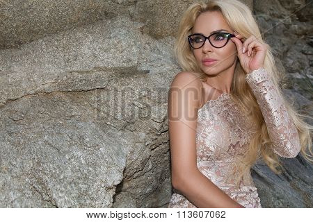 Beautiful Blond Hair Sexy Woman Young Girl Model In Sunglasses And Elegant Gold Long Dress Sexy With