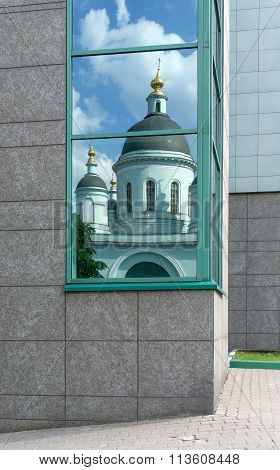 Window With Reflection Of Orthodox Church